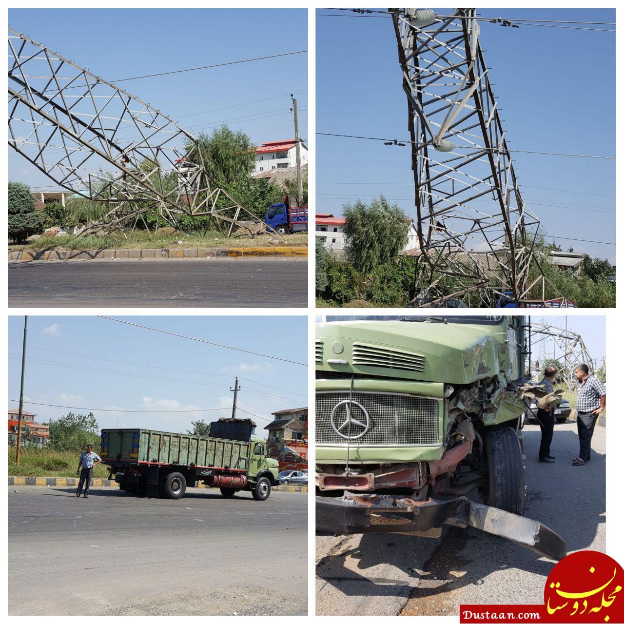 تصادف کامیون با دکل و سقوط آن در کمربندی لاهیجان - پلنگرود