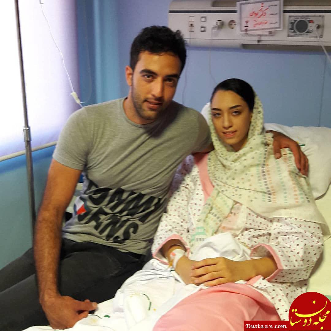 www.dustaan.com کیمیا علیزاده رو تخت بیمارستان در کنار همسرش