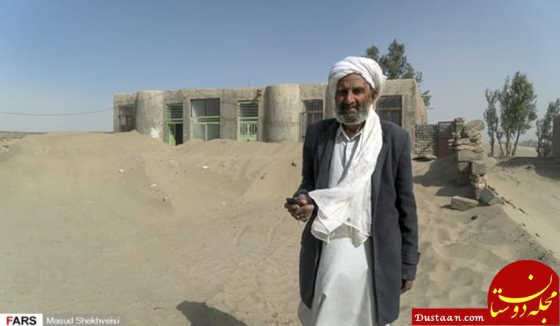 www.dustaan.com طوفان شن در سیستان خانه ها را دفن کرد +تصاویر