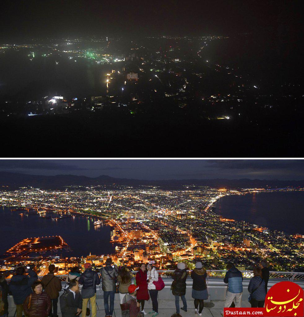 www.dustaan.com تصویری تکان دهنده از هوکایدوی ژاپن قبل و بعد از زلزله