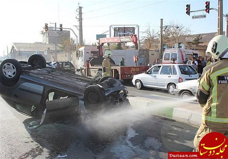 www.dustaan.com «پراید» پژو 206 را واژگون کرد +عکس