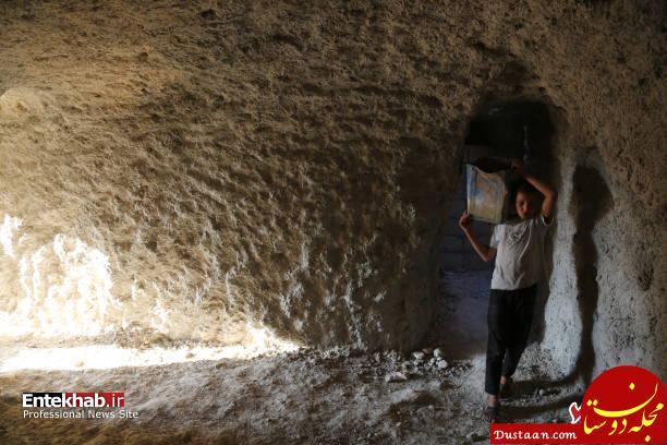 www.dustaan.com حفر تونل زیرزمینی برای زنده ماندن در ادلب سوریه! +تصاویر