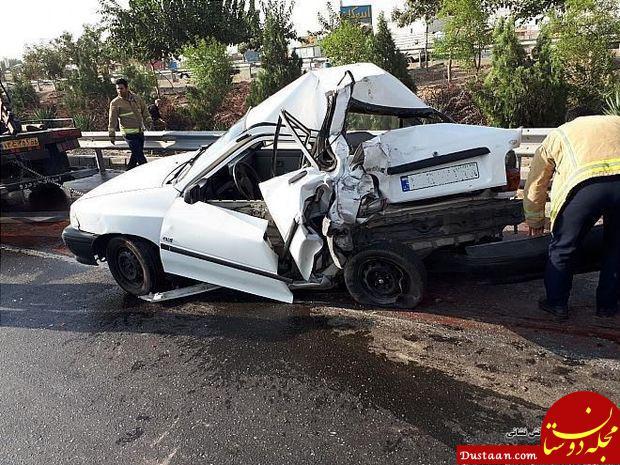 www.dustaan.com له شدن کامل پراید در تصادف وحشتناک با کامیون +تصاویر