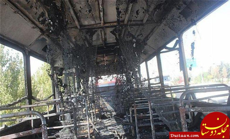 www.dustaan.com اتوبوس مسافربری در خیابان رجایی آتش گرفت +عکس