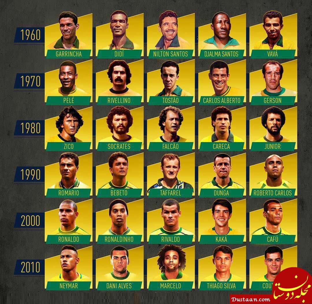 www.dustaan.com برترین ستارگان ادوار مختلف تیمملی برزیل در دهه های مختلف