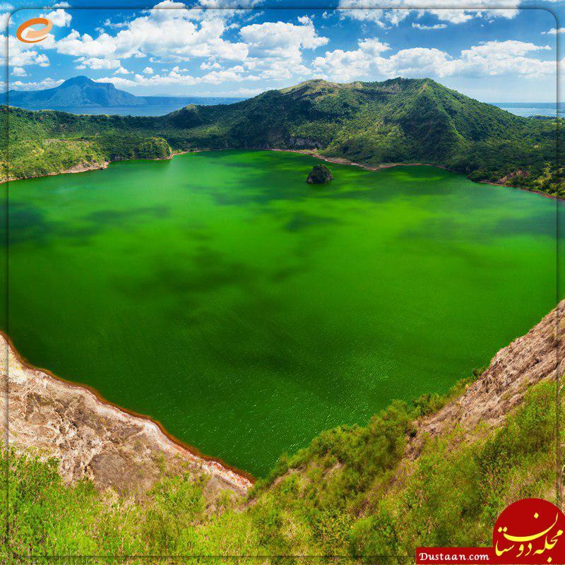 www.dustaan.com تصویری زیبا از سبزترین دریاچه جهان در فیلیپین +عکس