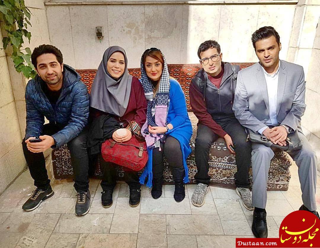 www.dustaan.com عکس یادگاری بازیگران در پشت صحنه سریال دلدادگان