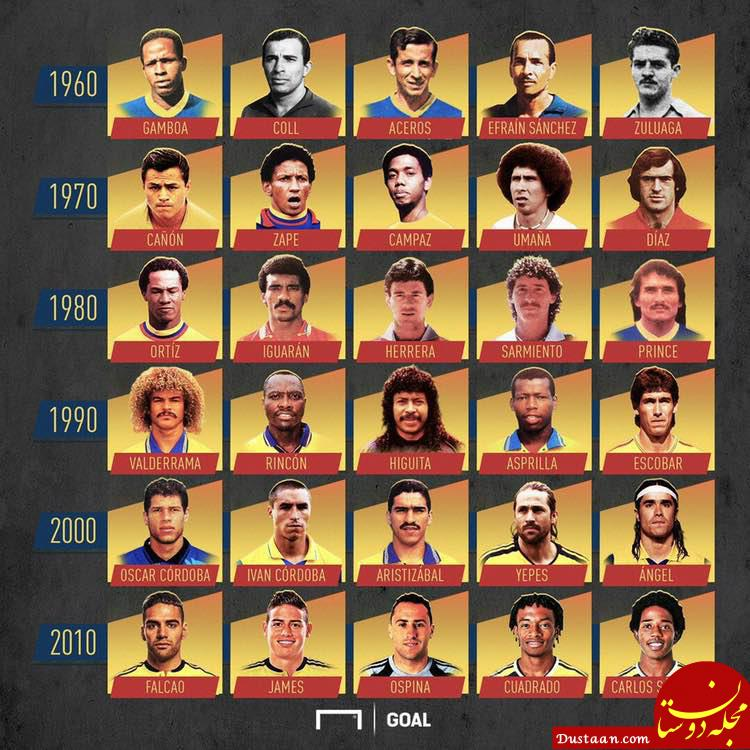www.dustaan.com برترین بازیکنان تاریخ فوتبال کلمبیا در دهه های مختلف