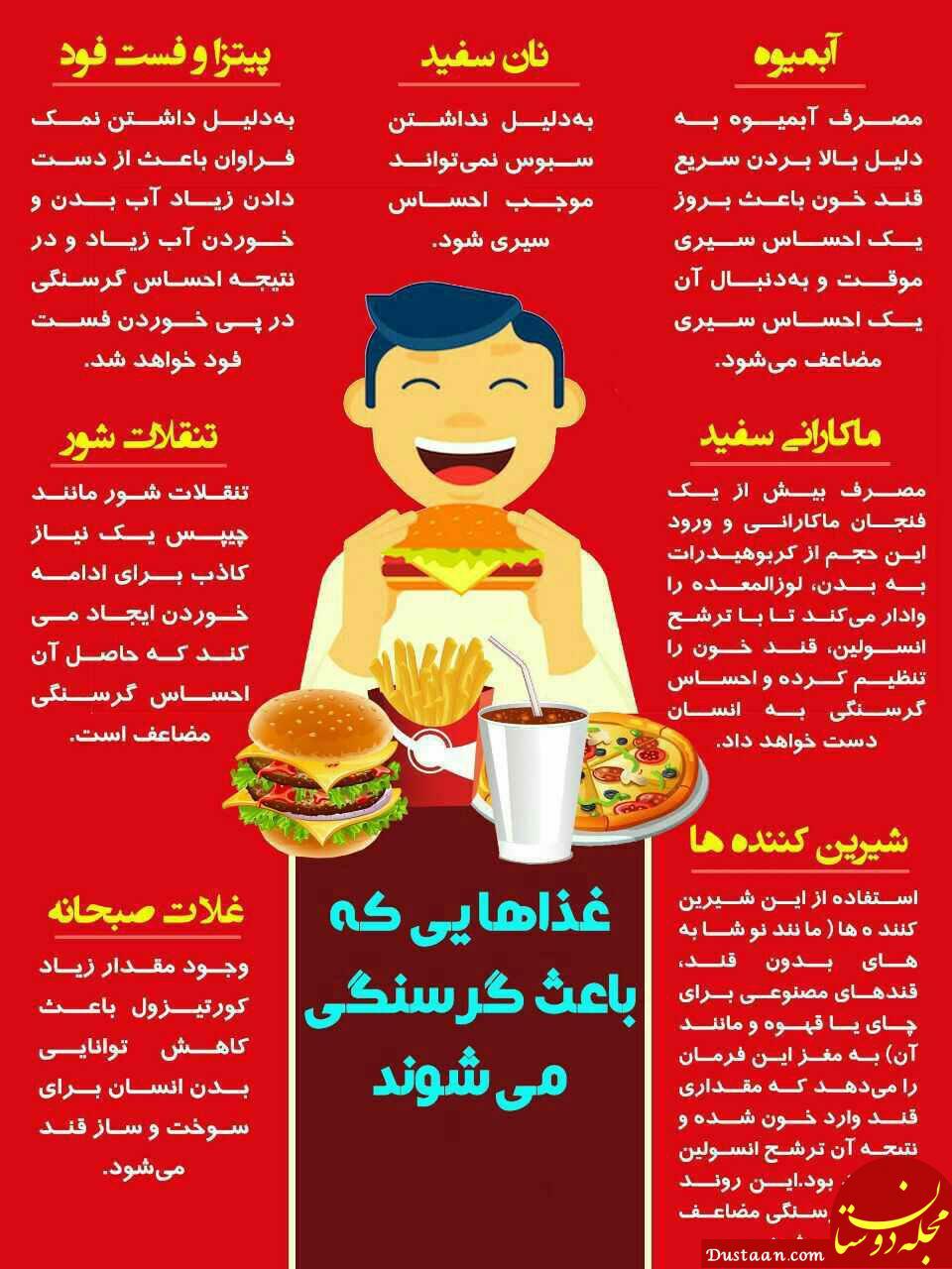 www.dustaan.com غذاهایی که باعث گرسنگی و افزایش وزن مضاعف می شوند!