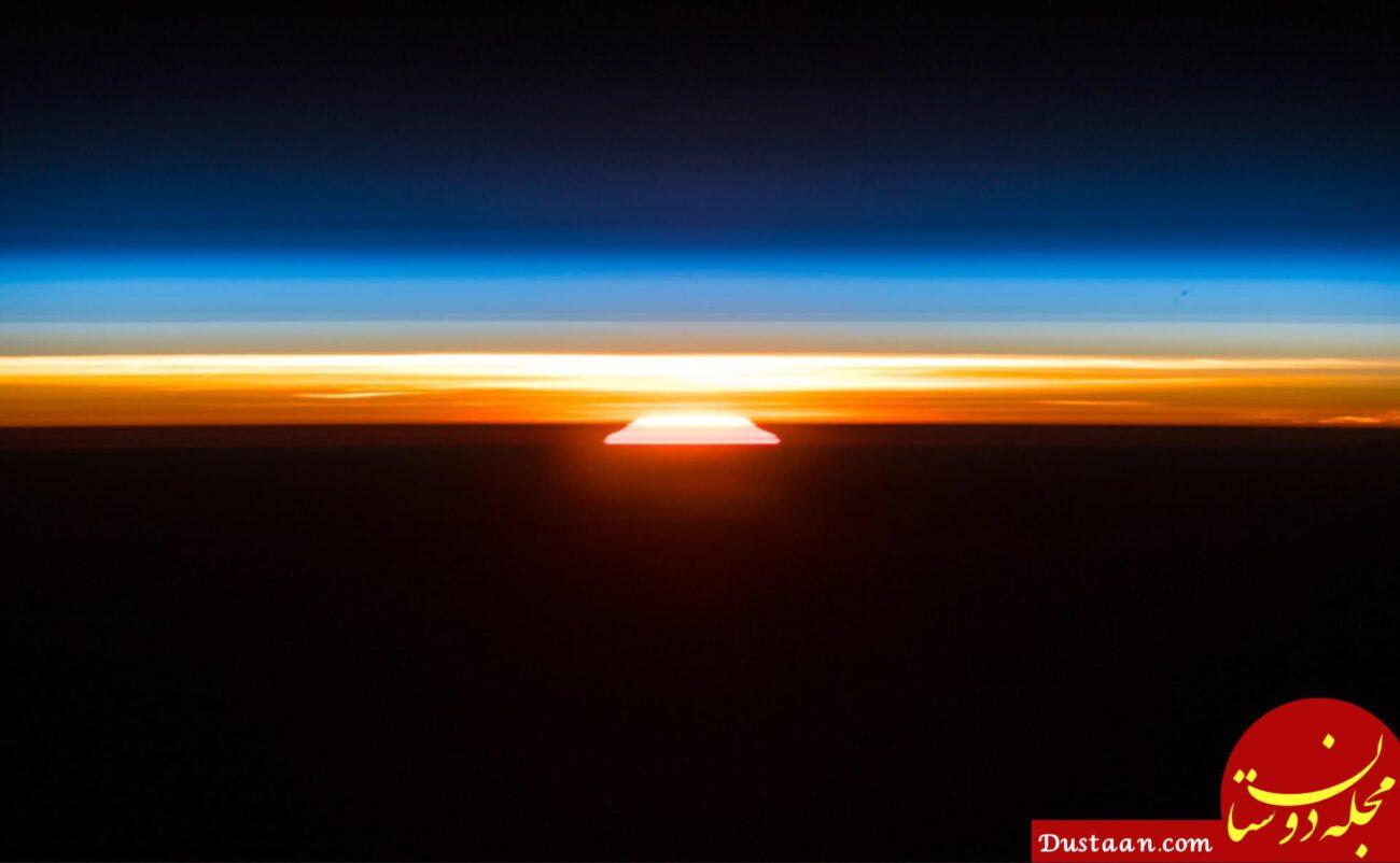 www.dustaan.com طلوع زیبای خورشید از ایستگاه فضایی بین المللی +عکس