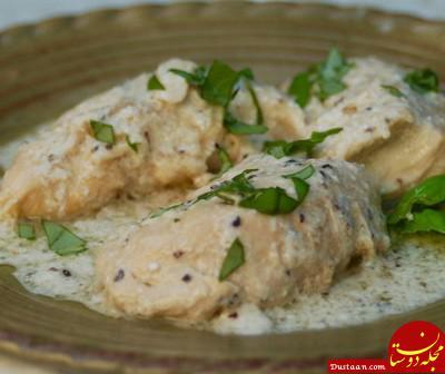 www.dustaan.com طرز تهیه مرغ خامه ای درفر به سبکی خوشمزه