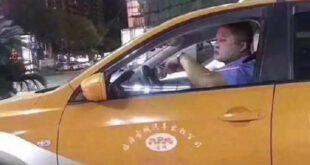 اخبار,اخبارگوناگون, استفاده راننده تاکسی از ماسک زیبایی حین رانندگی در شب