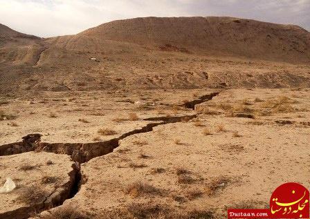 www.dustaan.com شکاف های ۸ تا ۱۰متری بر اثر نشست زمین در کاشمر