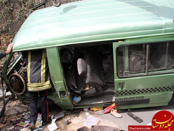 www.dustaan.com مصدومیت 13 زائر در پی واژگونی ون در ایلام