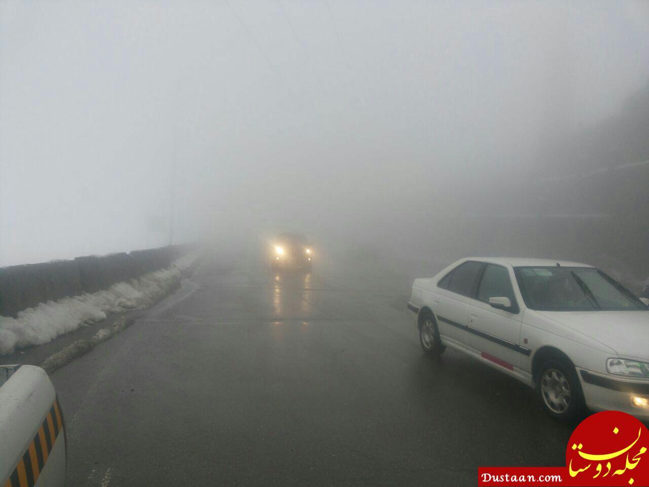 www.dustaan.com هراز و فیروزکوه پوشیده از برف و مه آلود است