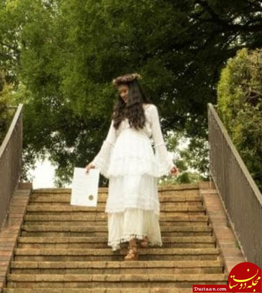 www.dustaan.com ازدواج عجیب دختر جوان با مدرک تحصیلی اش +تصاویر