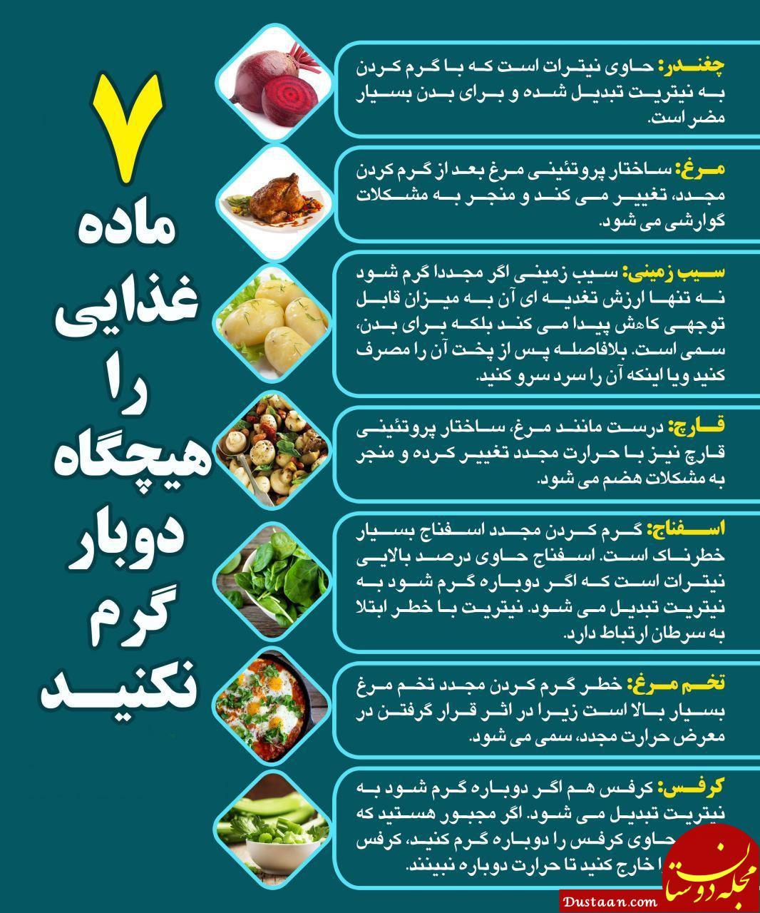 www.dustaan.com این هفت ماده غذایی را هیچگاه دوبار گرم نکنید