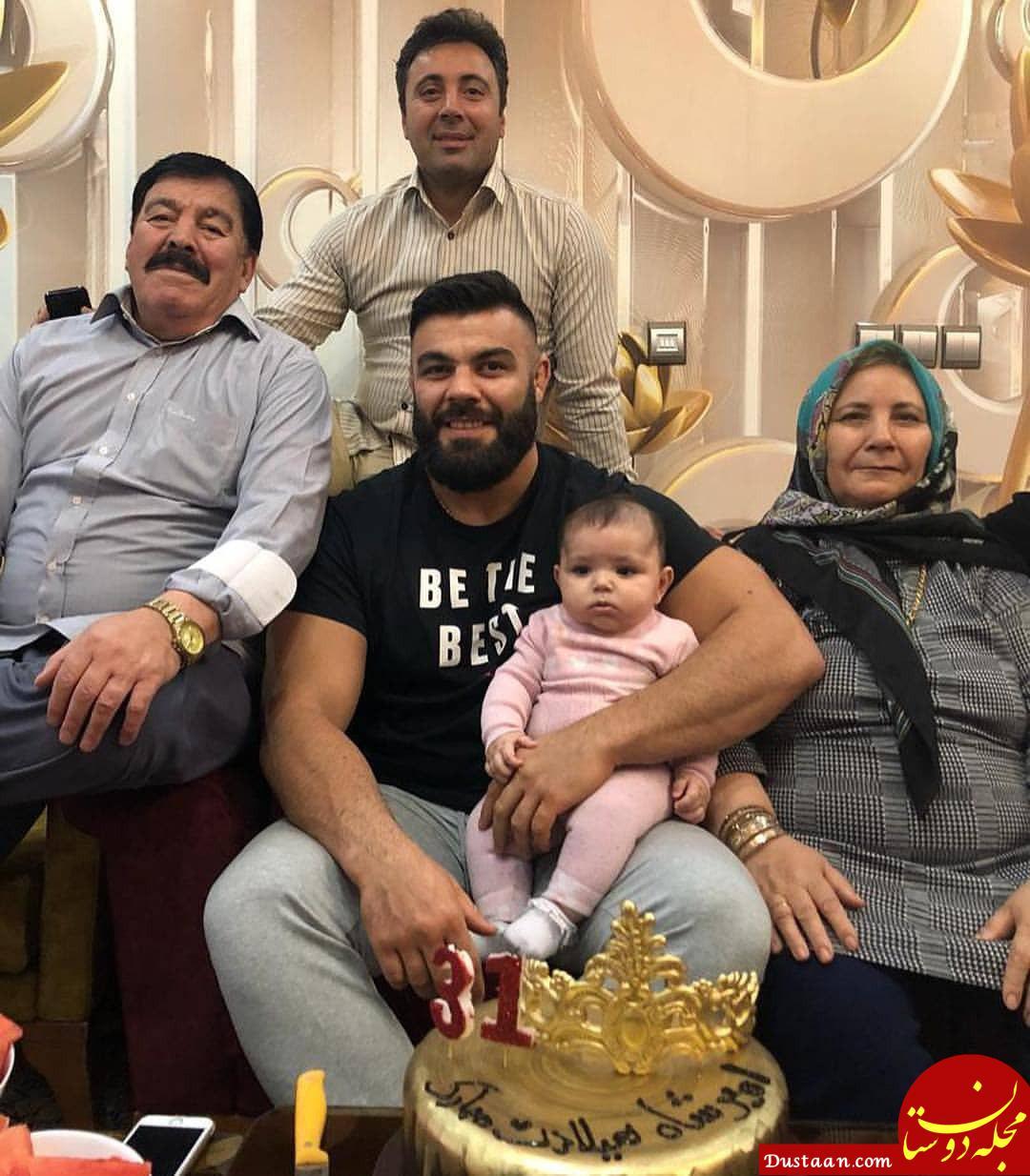 امیر علی اکبری قهرمان ایرانی در کنار خانواده اش در روز تولدش