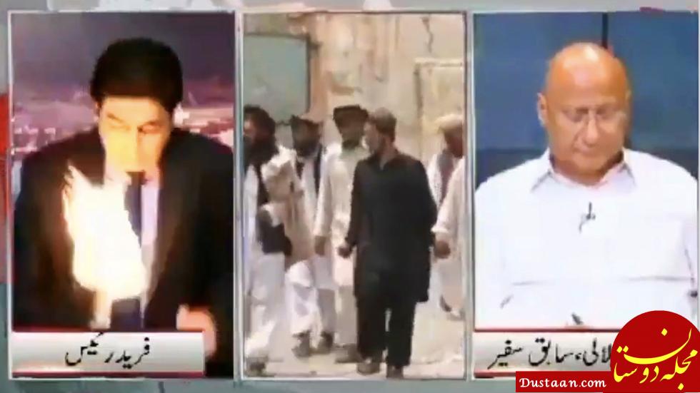 www.dustaan.com حمله به گوینده خبر حین گفتگوی زنده تلویزیونی! +عکس
