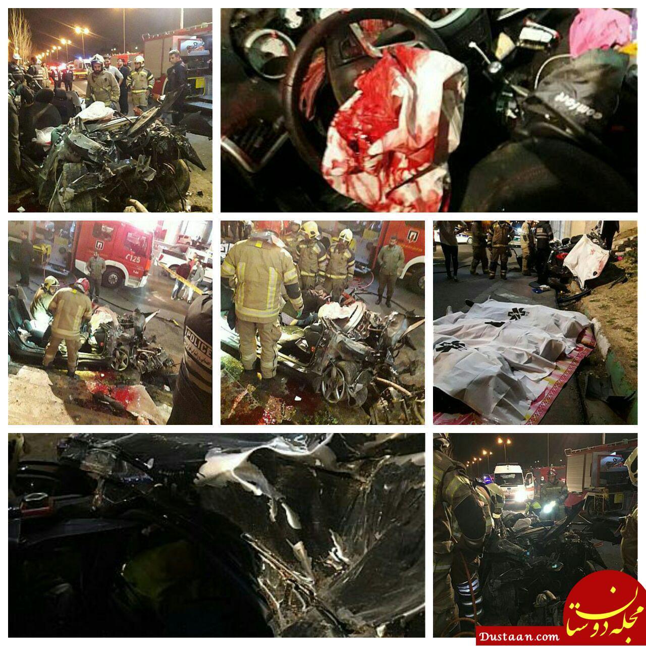 www.dustaan.com برخورد مرگبار سواری پژو ۲۰۷ با دیواره پل یادگار امام(ره) +تصاویر