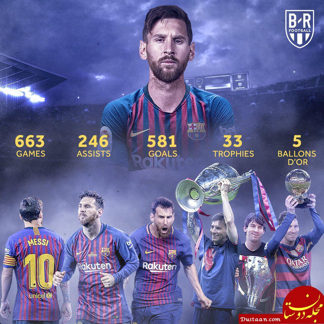 www.dustaan.com آمار و عملکرد لیونل مسی طی ۱۵ سال حضور حرفهای در بارسلونا