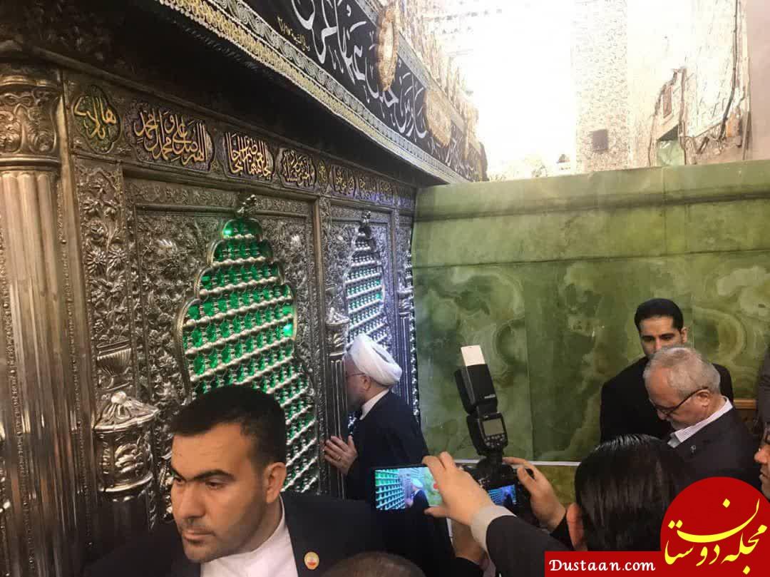 www.dustaan.com رئیس جمهور در حرمین مطهر امامان موسی کاظم و جواد (ع) +عکس