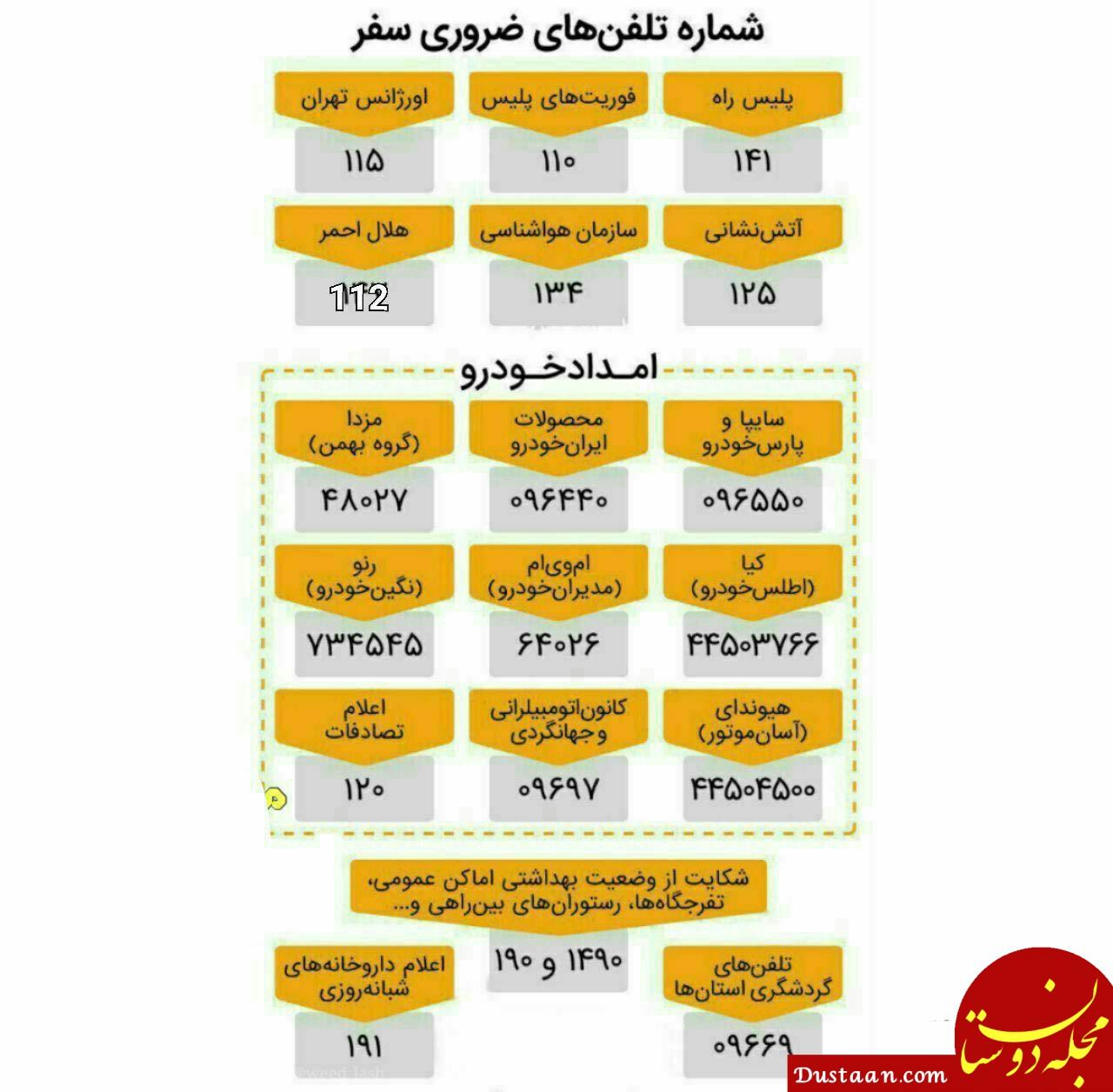 www.dustaan.com شماره تلفن های ضروری در سفر