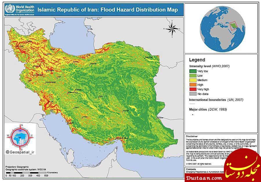 www.dustaan.com نقشه توزیع خطر سیل در ایران