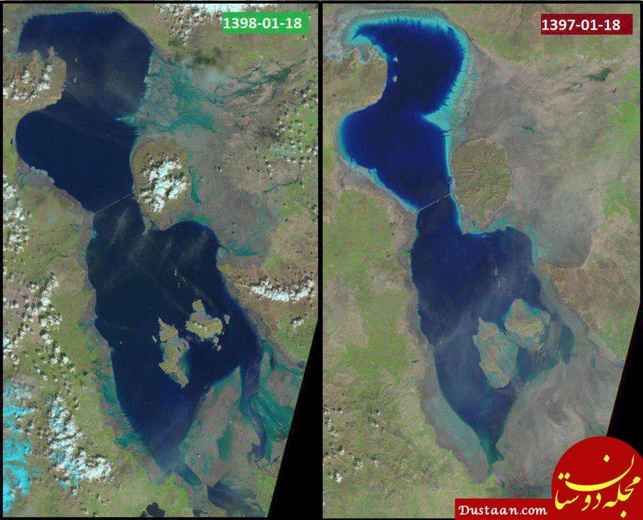 www.dustaan.com مقایسه وضعیت دریاچه ارومیه با سال گذشته