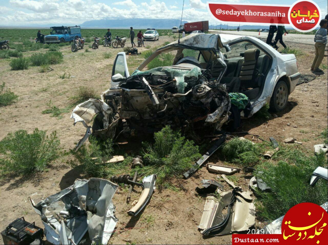 www.dustaan.com تصادف پژو پارس با تریلی یک کشته بر جای گذاشت