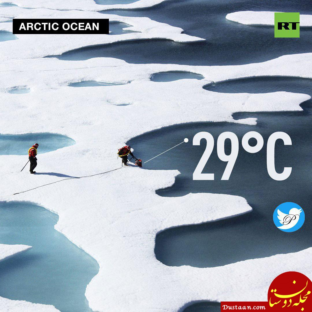 www.dustaan.com دمای اقیانوس منجمد شمالی به 29 درجه بالا صفر رسید!
