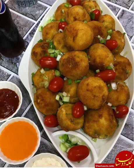 www.dustaan.com توپک سوخاری سیب زمینی پنیری ، خوشمزه و متفاوت