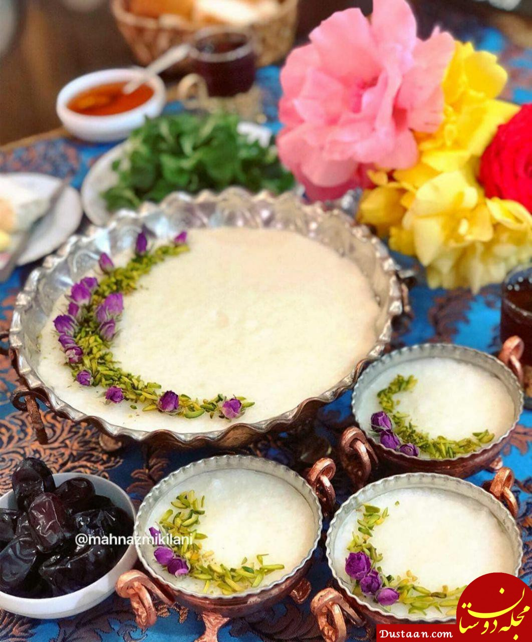 تزیین شیر برنج با زعفران