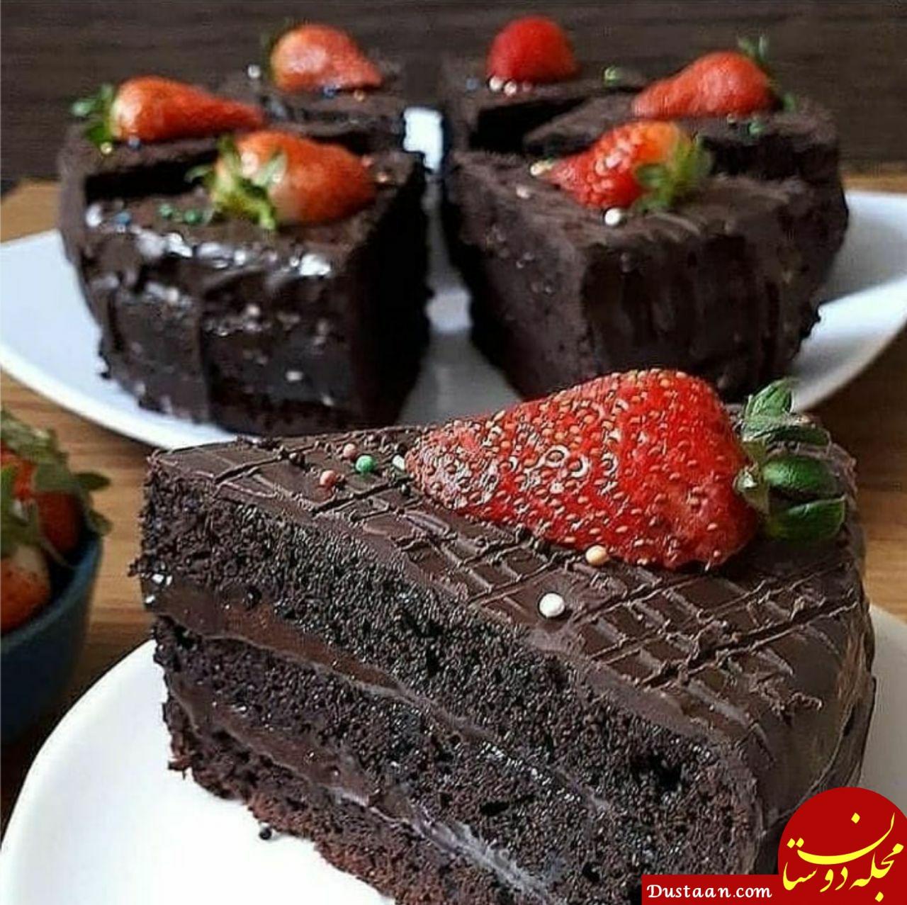 www.dustaan.com طرز تهیه کیک دبل چاکلت ، خوشمزه و متفاوت