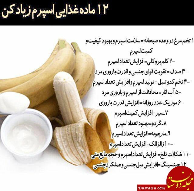 www.dustaan.com ۱۲ ماده غذایی اسپرم ساز