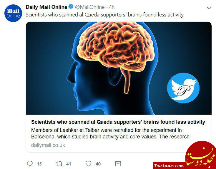 www.dustaan.com مغز طرفداران القاعده کمتر از سایر افراد فعال است!