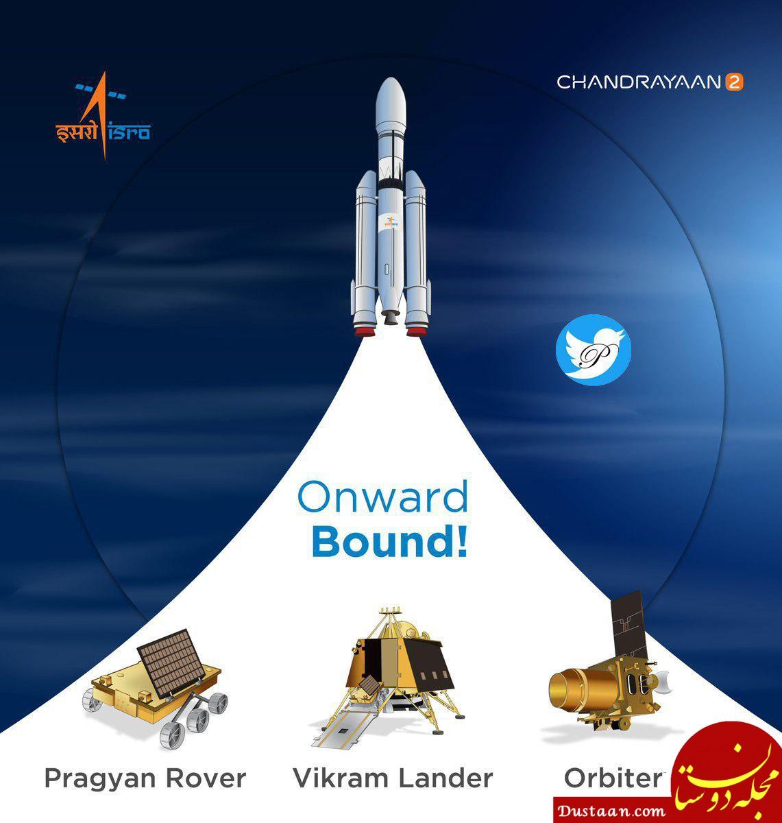 www.dustaan.com هند با موفقیت موشک خود به سوی ماه را پرتاب کرد
