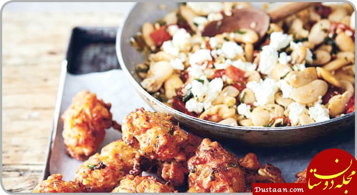 www.dustaan.com طرز تهیه توپک گوجه فرنگی با لوبیا و پنیر