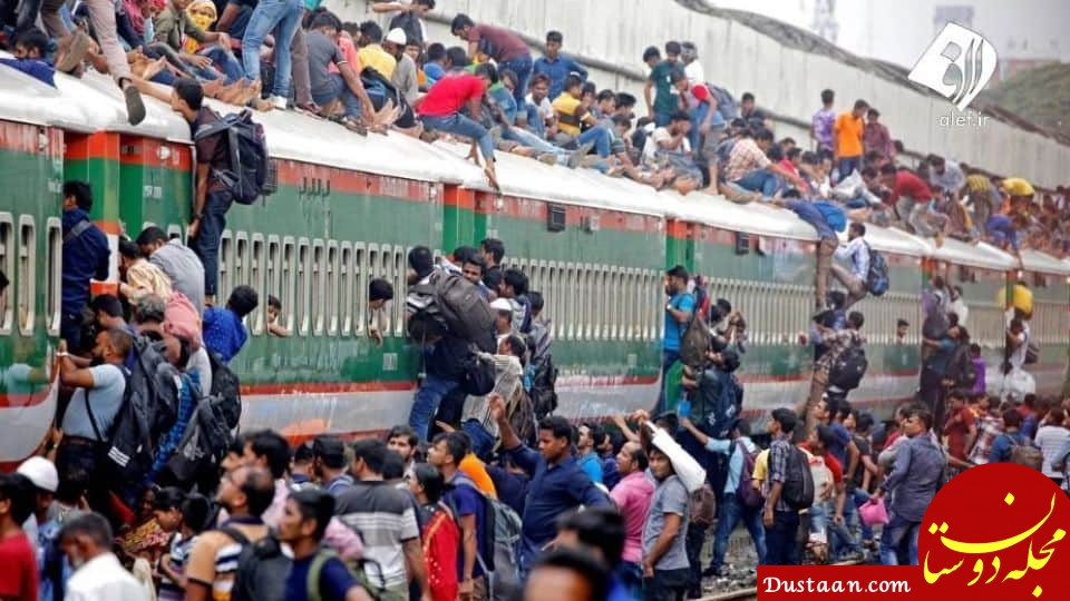 www.dustaan.com قطار سواری عجیب و غریب در بنگلادش! +عکس