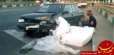 www.dustaan.com تصادف پراید با تشک در بزرگراه همت! +عکس