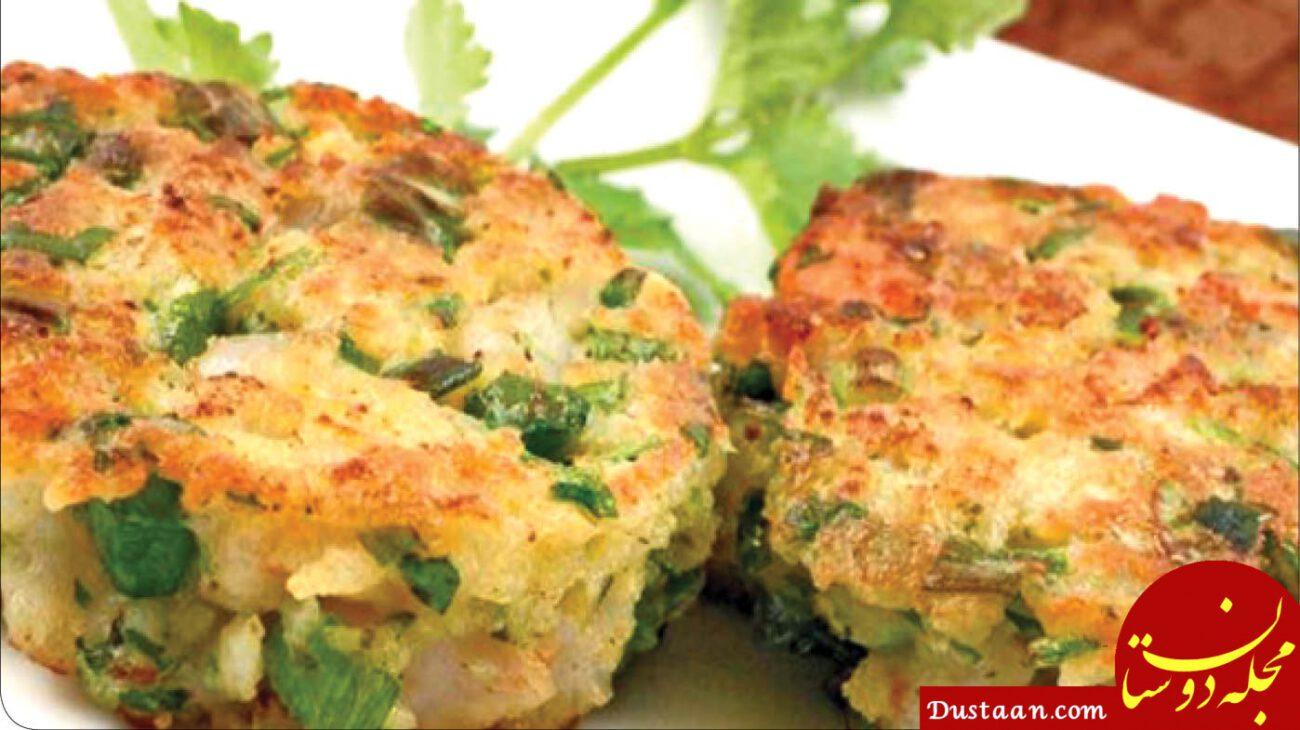 www.dustaan.com طرز تهیه کتلت مرغ و قارچ با طعم پیازچه ، خوشمزه و متفاوت