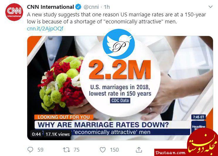 www.dustaan.com پایین ترین نرخ ازدواج در 150 سال اخیر در آمریکا به ثبت رسید