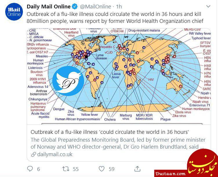 www.dustaan.com اپیدمی شبیه آنلفوانزا در عرض 36 ساعت میتواند 80 میلیون تن در جهان را بکشد