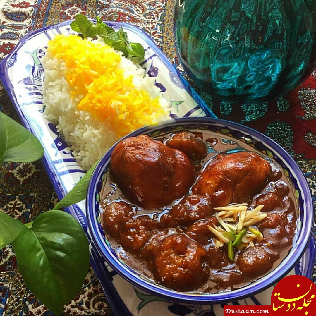www.dustaan.com طرز تهیه خورشت مرغ و آلو زرد به سبکی خوشمزه