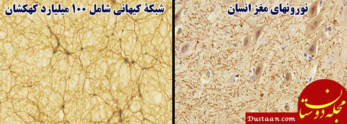 www.dustaan.com شباهت عجیب نورونهای مغز انسان با شبکهٔ کهکشانی!