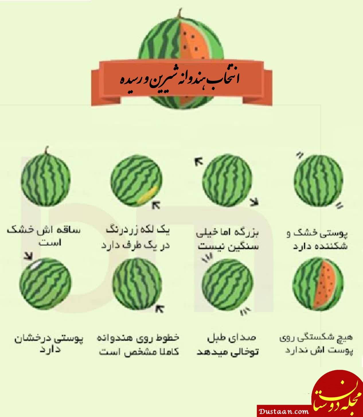 www.dustaan.com هندوانه خوب و شیرین را چگونه تشخیص دهیم