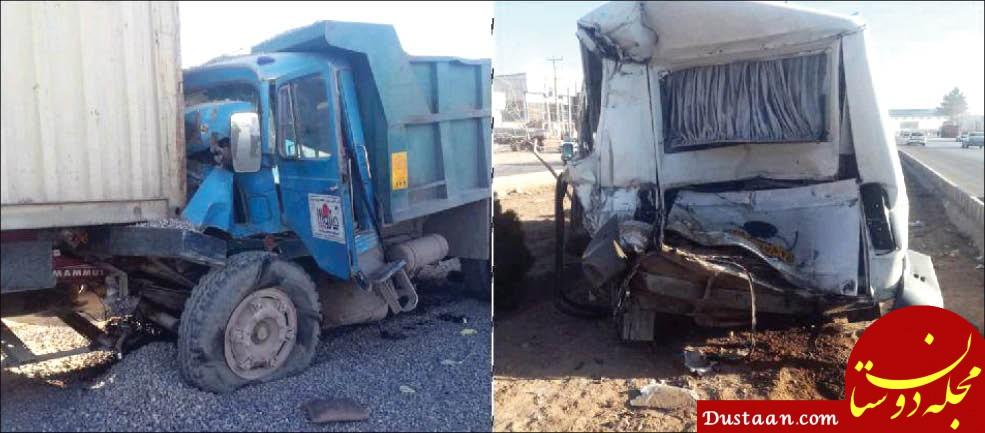 www.dustaan.com فوت راننده کامیون پس از تصادف با سرویس مدرسه