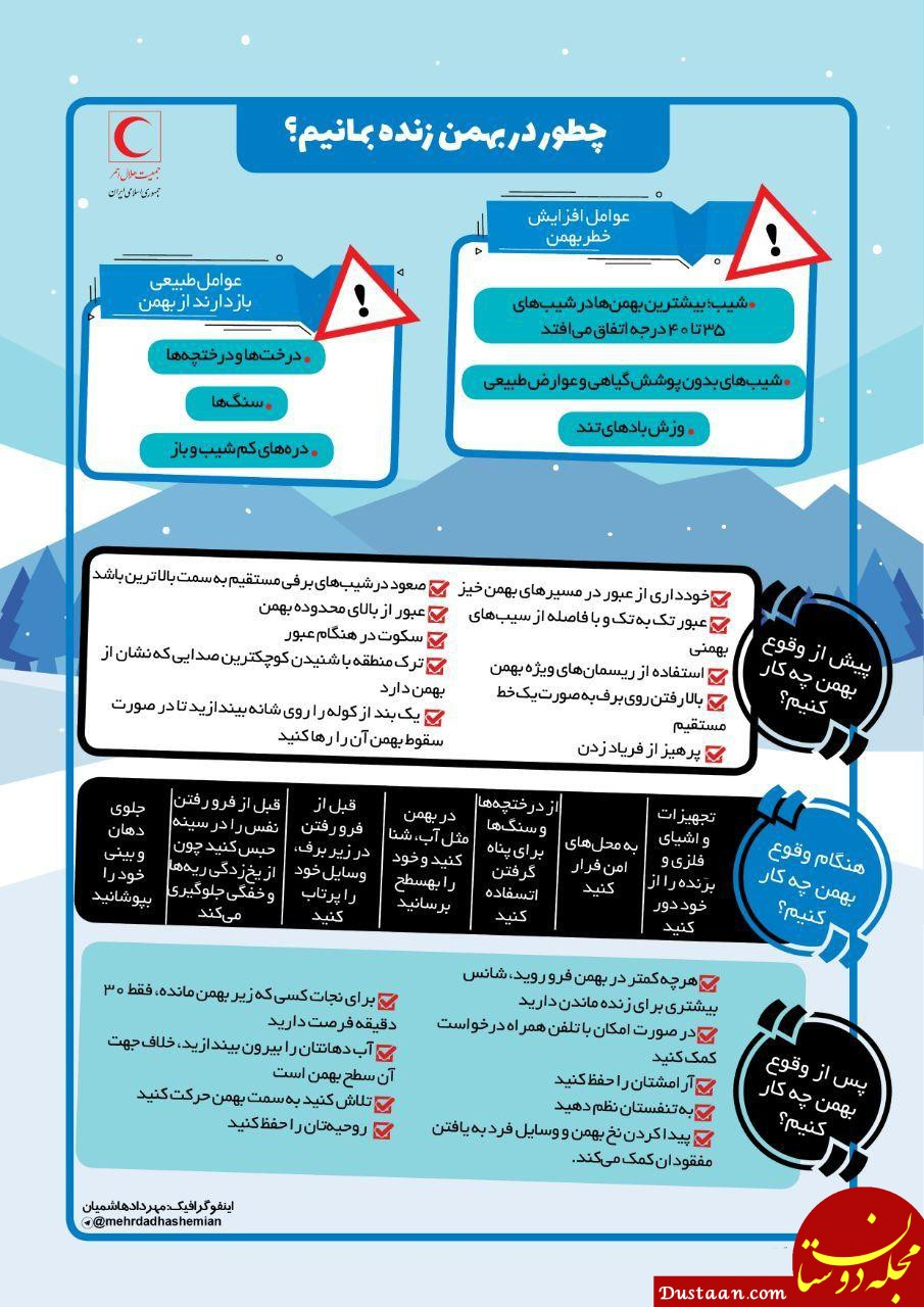 www.dustaan.com چطور در هنگام سقوط بهمن زنده بمانیم؟
