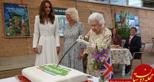 اصرار عجیب ملکه به بریدن کیک با شمشیر! +عکس